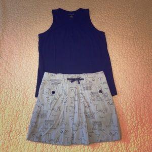 Paris themed skort and navy shirt Sz 9/10